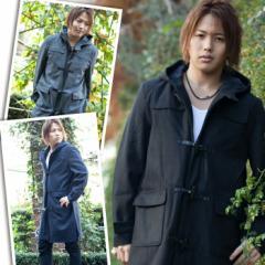 ダッフルコート メンズ ジャケット 3カラー メルトン  ウール ロングコート 黒 グレー ネイビー【今週まで50%オフ以上】