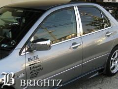 BRIGHTZ ランサー CS CS2A CS5A CS6A 超鏡面クロームメッキピラーパネルカバー 窓枠 10PC サイドバイザー無し用