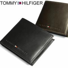 トミーヒルフィガー TOMMY HILFIGER 財布 メンズ 二つ折り財布 二つ折財布 本革 レザー ロゴ ブランド ブラック SAIFU さいふ サイフ Men