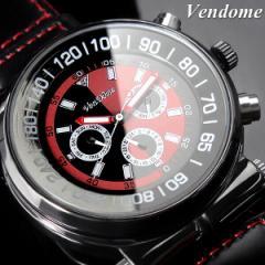 VenDome メンズ 腕時計 ダイバーズデザイン 自動巻き ブラック×レッド バイカラー レザー うでどけい ウォッチ Mens