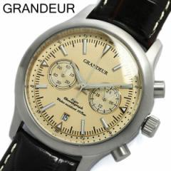 【グランドール】【GRANDEUR】腕時計 メンズ クロノグラフ 革ベルト レザー ベージュ 牛革ベルト ウォッチ うでどけい センタークロノグ