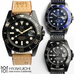 ダイバーズウォッチ Divers メンズ腕時計 ブランド 200m防水 20気圧防水 革ベルト レザー ウォッチ MENS うでどけい 101-HYAKUICHI- ス