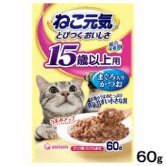 ねこ元気 総合栄養食 パウチ 15歳以上用 まぐろ入りかつお 60g キャットフード 超高齢猫用