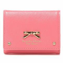 正規品 サマンサタバサ プチチョイス エナメルシンプルリボン 三つ折りミニ財布 コーラルピンク