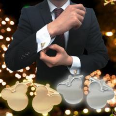 カフスボタン ミッキーマウスのゴールド&シルバーのカフスボタン