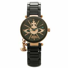 ヴィヴィアンウエストウッド レディースアナログ腕時計 オーブチャーム ブラック/ピンクゴールド
