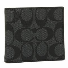 【あす着】コーチ アウトレット 財布 メンズ COACH F75006 CQ/BK シグネチャー コインケース 2つ折り財布 チャコール/ブラック