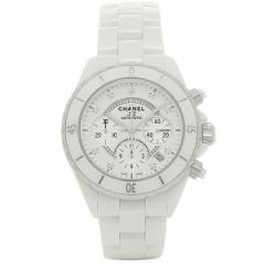 【あす着】シャネル腕時計CHANELJ12H200941MMクロノグラフ9Pダイヤモンドホワイトセラミックメンズウォッチシリアル有