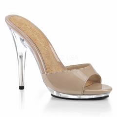 即納靴 大きいサイズ有り 薄厚底 ミュール サンダル 12.5cmピンヒール ヌード クリア