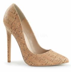 即納靴 ポインテッドトゥ 斬新なコルクデザイン ハイヒールパンプス 12.5cmヒール コルク つや消し プリーザー 大きいサイズあり