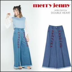 merry jenny メリージェニー りぼんワイドデニムパンツ レディース ボトムス デニム パンツ デニムパンツ ワイド