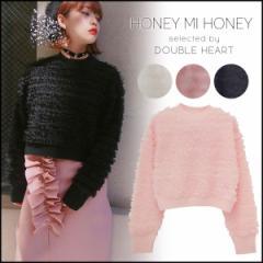 ハニーミーハニー HONEY MI HONEY frill tulle knit フリルチュールニット レディース セーター 長袖 ピンク 黒 白