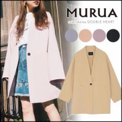 MURUA ムルーア オーバーノーカラージャケット レディース アウター ノーカラージャケット 羽織 大きめ ゆったり 春アウター
