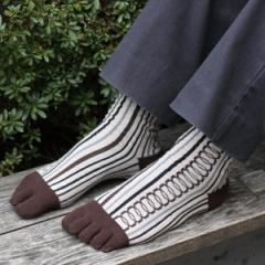 京都くろちく 5本指文化足袋・紳士用●メンズ靴下●和柄足袋くつ下 和雑貨 つま先が5本に割れた靴下★プチギフトに最適!【ゆうパケット