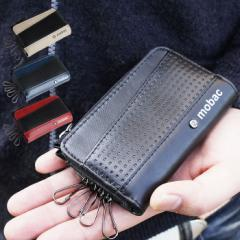 キーケース 4連 メンズ 小銭入れ付き コインケース 定期入れ L字ファスナー mobac スマートキー