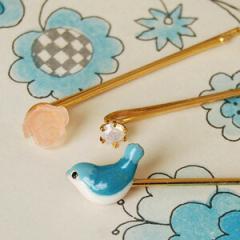 幸せの青い鳥♪キュートなトリプルヘアピン/ヘアアクセサリー3個セット/小鳥/バラ/スプリングバードトリプルヘアピン【メール便可03】