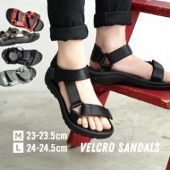 S/M/L/LL/3L サンダル スポーツサンダル ぺたんこ 楽ちん シューズ 靴 スポサン 夏 歩きやすい /ベルクロ サンダル