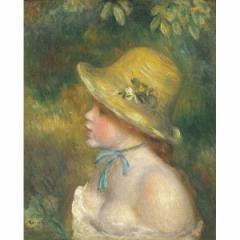レビューで次回2000円オフ 世界の名画シリーズ、プリハード複製画 ピエール・オーギュスト・ルノアール作 「麦わら帽子を被った若い娘」