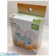 オーム電機 [06-0243] エコ電球 60W相当/12W 電球色 E26 2個入り EFD15EL/12−SPN−2P 060243【5400円以上送料無料】
