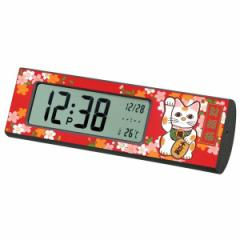 蒔絵デジタルクロック「匠」 招き猫(赤) 001-2354(漆器、記念品、お土産、海外向けギフト)[fs01gm]fs2gm