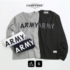 【メール便 送料無料】 ジュニア・キッズ ARMY プリントロングスリーブTシャツ 長袖  CAMPFREE 【army 子供服 こども 長袖 カットソー