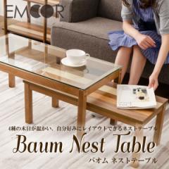 「Baum/バオム ネストテーブル」 ネストテーブル 2つ セット ガラス   入れ子 四角 長方形 机 シンプル ウォ