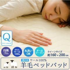 洗える ウール100% 羊毛ベッドパッド クイーンサイズ 抗菌防臭 丸洗いベッドパッド 160×200cm (敷きパッド 敷パッ