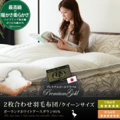 日本製 プレミアムゴールドラベル 2枚合わせ 羽毛布団 クイーン ポーランド産ホワイトマザーグースダウン95% 軽くて柔らかいハイブリッ