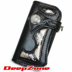 【DEEP ZONE】ロングウォレットALL SILVER パイソン手彫り&純銀 ブラック