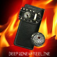 【DEEP ZONE】ライダーズウォレットREAL SILVER スタッズウォレット STONE RED