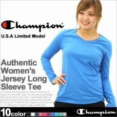 【レディース】 Champion チャンピオン 長袖Tシャツ ロンt レディース ルームウェア 大きいサイズ (w8037)