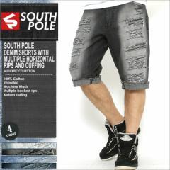 SOUTH POLE サウスポール ハーフパンツ メンズ 大きいサイズ デニム ダメージ ハーフパンツ デニム