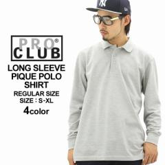PRO CLUB プロクラブ ポロシャツ 長袖 メンズ 大きいサイズ 無地 長袖ポロシャツ 鹿の子 proclub