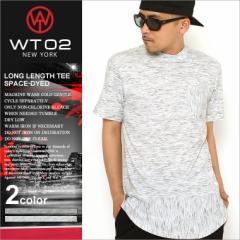 [wt02] Tシャツ メンズ ロング丈 ヘムラインTシャツ 半袖 Tシャツ ストリート ブランド 無地 ポケット (16191-1021)