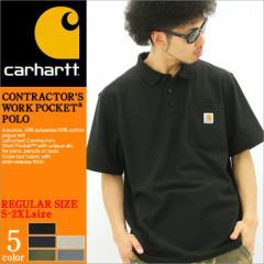 【2枚で送料無料】 Carhartt カーハート ポロシャツ メンズ 半袖 大きいサイズ 無地 鹿の子 ポケット付き 黒 ブラック アメカジ (k570)