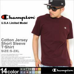 Champion チャンピオン Tシャツ メンズ 半袖 男 大きいサイズ アメカジ ストリート 無地 半袖tシャツ ブラック ホワイト Uネック