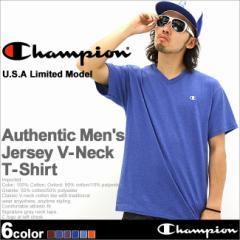 【U】 Champion チャンピオン Tシャツ メンズ 半袖 Vネック アメカジ ストリート 大きいサイズ 半袖tシャツ ブラック 無地
