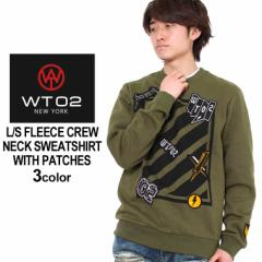 wt02 トレーナー メンズ 長袖 スウェット トレーナー メンズ 裏起毛 トレーナー 大きいサイズ ロゴ ワッペン 刺繍 キングサイズ