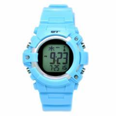 [ウェーブトランス]WaveTrance 腕時計 電波ソーラーウォッチ スポーツ デジタル ライトブルー WT13003-RCSOL-10