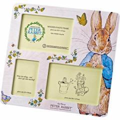 〔ギフト〕ユーパワー Peter Rabbit ピーターラビット 木製フォトフレーム 3ウィンドー スウィートヴィンテージ PF-03081