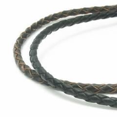 牛革紐 四つ編み 黒 茶 4.0mm 約45cm 革ひも ネックレス 革紐 シルバー925 金具 レザー チョーカー 皮紐 革ひも