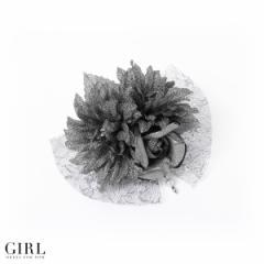 【送料無料】フラワー パール レース シルバー コサージュ ヘアアクセサリー 結婚式 入学式 卒業式 髪飾り 花 フォーマル