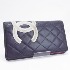 シャネル カンボンライン 二つ折り長財布 ブラック/ホワイト ココマーク A26717 中古 CHANEL レディース