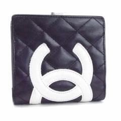シャネル カンボンライン 2つ折り財布 がま口 ココマーク ブラック/ホワイト 内側ピンク A26720 中古 シール・箱付き CHANEL レディース