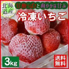 送料無料  産直のため同梱不可 北海道産 冷凍いちご(ヘタなし) 3kg  お届け日指定不可