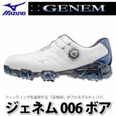 ミズノ ゴルフシューズ ジェネム006ボア (51GP160022) ホワイト/ブルー【足幅:2E】