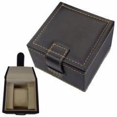 [エスプリマ]ESPRIMA 腕時計収納ケース 1本用 濃茶 コレクション 合成皮革 内側起毛 カラーステッチ(オレンジ)