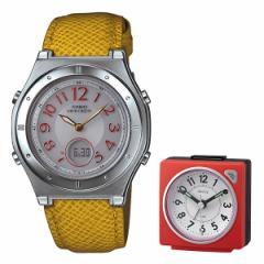 【セット】【腕時計】[カシオ]CASIO LWA-M141L-4A3JF wave cepter(ウェーブセプター) オレンジ&リズム時計 目覚時計 8REA27DN01