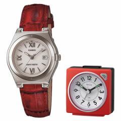 【セット】【腕時計】[カシオ]CASIO LWQ-10LJ-4A2JF wave cepter(ウェーブセプター) レッド&リズム時計 目覚時計 8REA27DN0