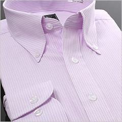 長袖ボタンダウン パープルストライプ ワイシャツ ボタンダウン 長袖ワイシャツ メンズ ビジネス 形態安定[ドレスシャツ]